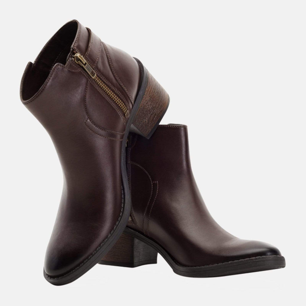 Redfoot Footwear ALBA BROWN LEATHER BUCKLE ANKLE BOOT