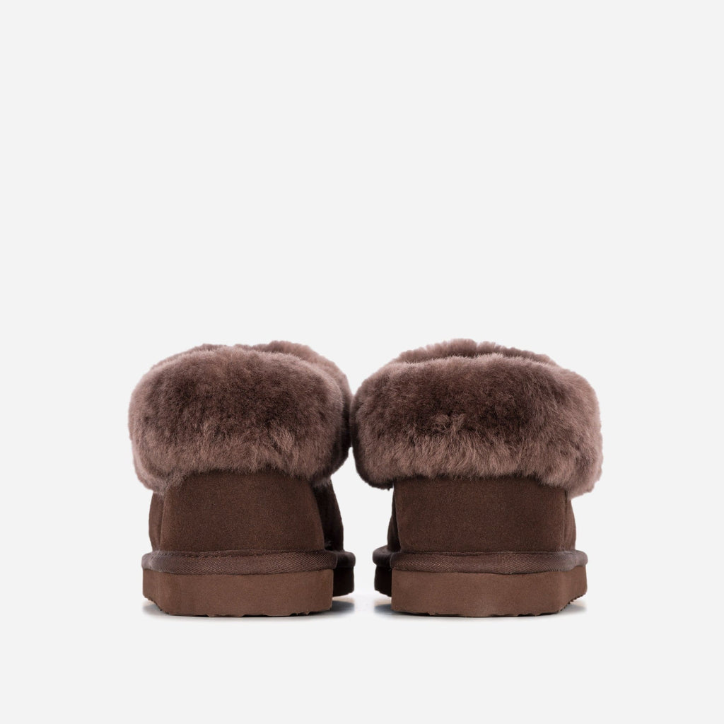 Redfoot Footwear ANN LADIES CHOCOLATE SHEEPSKIN SLIPPER BOOTIE