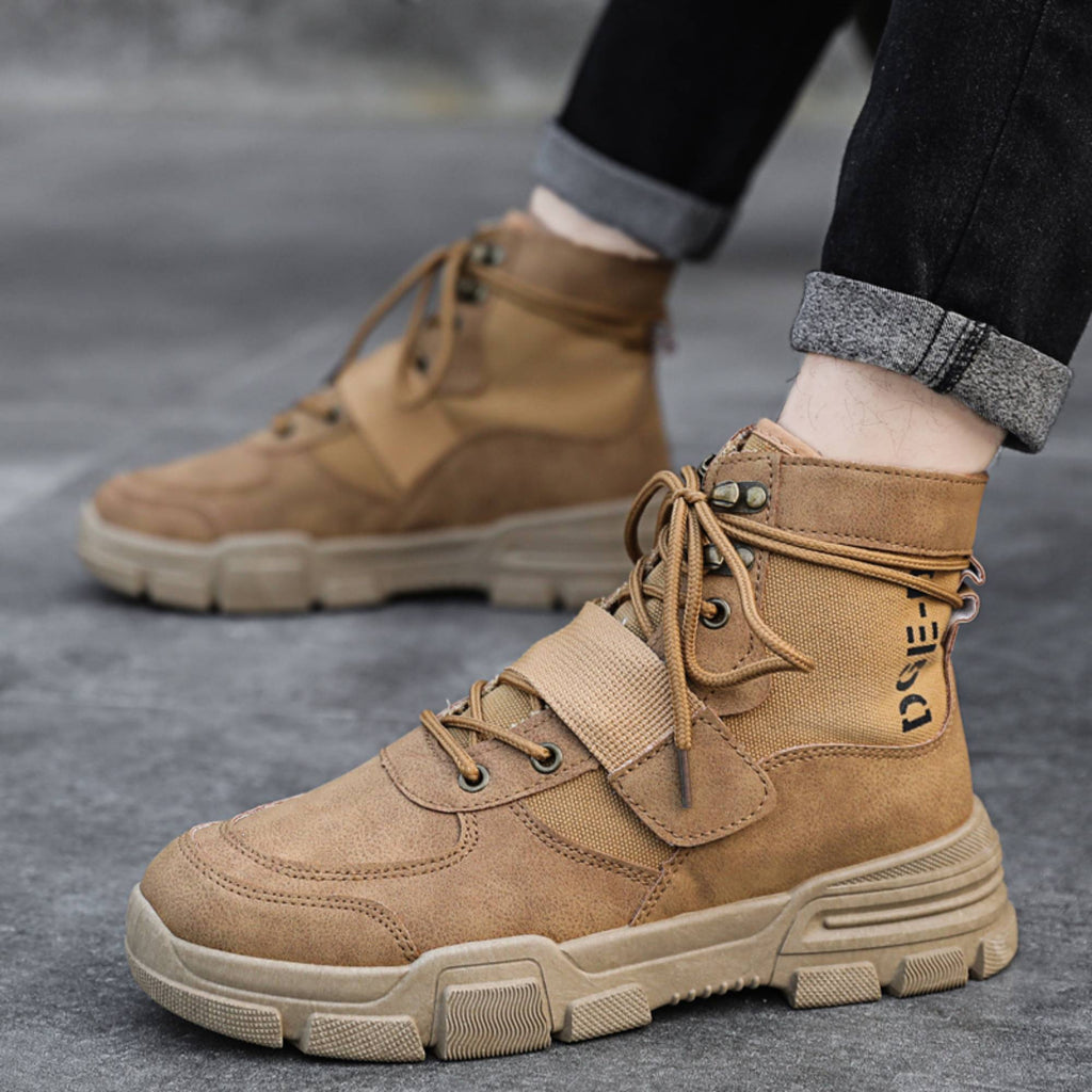 Redfoot Footwear Men's Military Style Waterproof Casual Military Boots in Beige - ONLY ��19.99