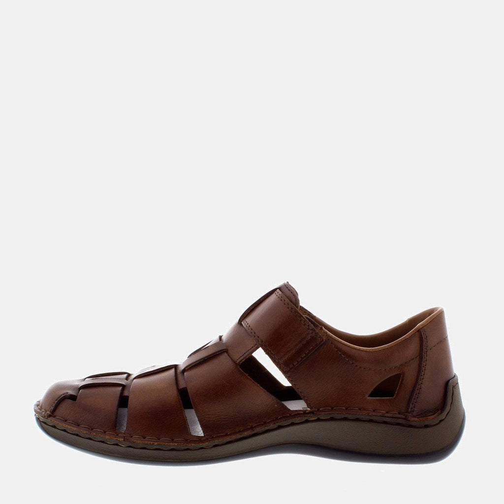 Rieker Footwear UK 7.5/ EU 41/ US 8.5 / Brown 05273 25 Toffee - Rieker Brown Leather Men's Sports Sandals - Extra Wide Fit