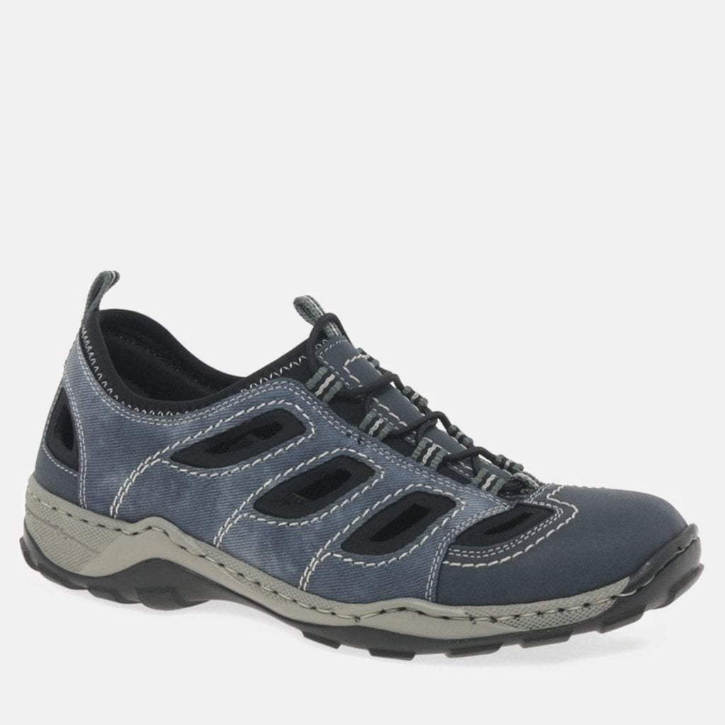 Rieker Footwear UK 7.5/ EU 41/ US 8.5 / Blue 08065 14 Denim/Jeans/Black - Rieker Blue/Black Sports Trainers - Wide Fit Mens