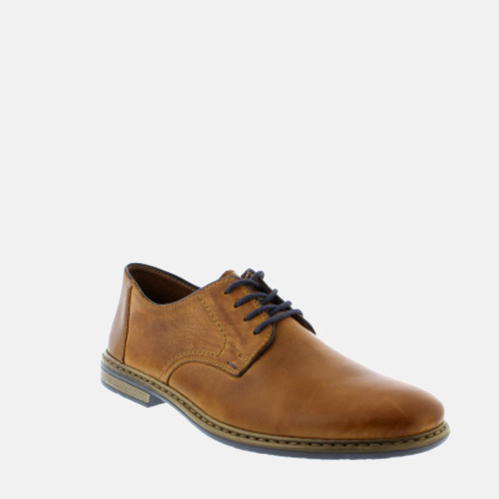 Rieker Footwear UK 7.5/ EU 41/ US 8.5 / Brown 13422 25 Toffee/Navy/Zimt - Rieker Men's  Tan Leather Lace Up Formal Shoe - Wide Fit