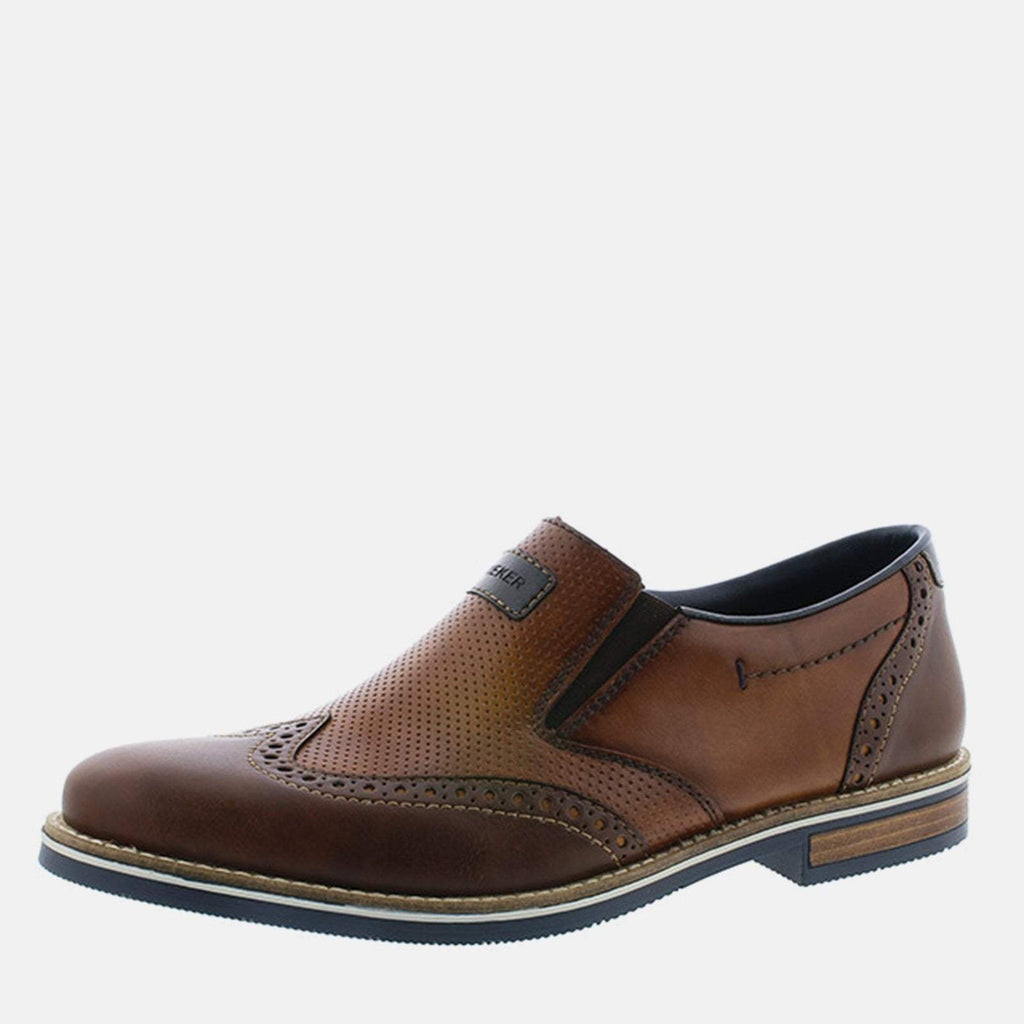 Rieker Footwear UK 7.5/ EU 41/ US 8.5 / Brown 13560 25 Kastanie/Mandel/Ozean - Rieker Men's Tan Leather Slip On Formal Shoe  - Wide Fit