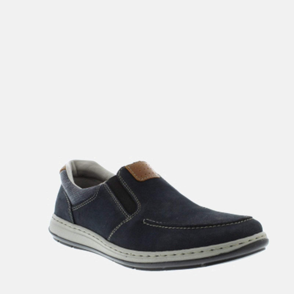 Rieker Footwear UK 7.5/ EU 41/ US 8.5 / Blue 17360 15 Pazifik/Amaretto/Navy - Rieker Men's Navy Leather Slip On Formal Shoe  - Extra Wide Wide Fit