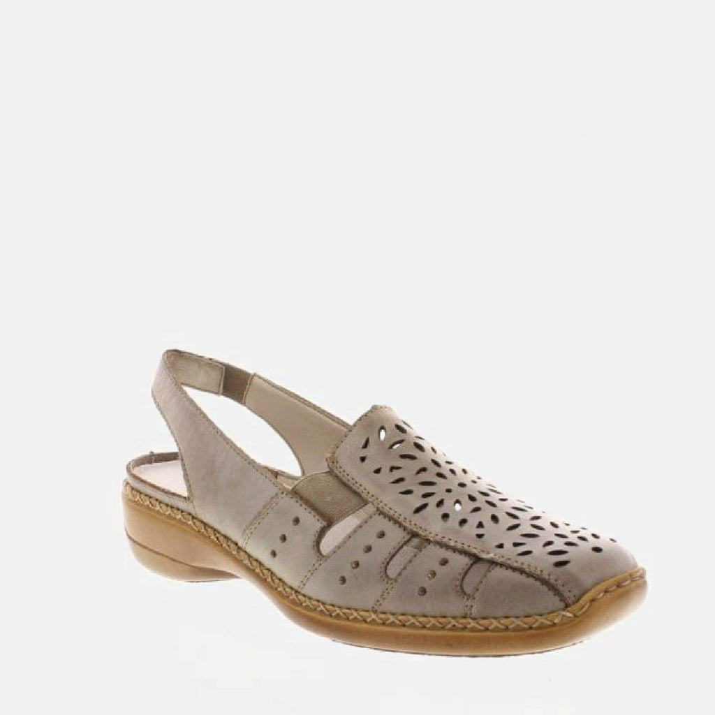 Rieker Footwear UK 4 / EU 37/ US 6.5 / Beige 41390 62 Whitekiesel  - Rieker Ladies Beige Slingback Shoes