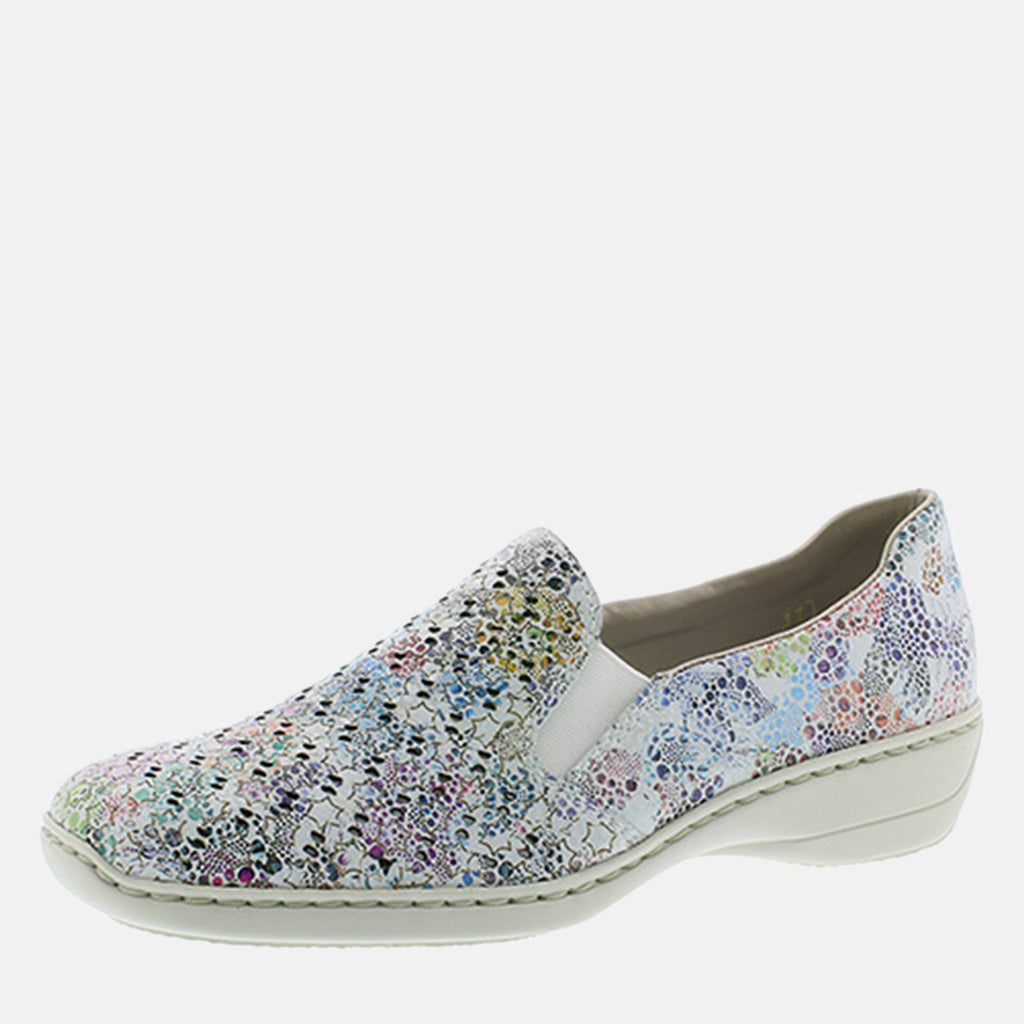 Rieker Footwear UK 4 / EU 37/ US 6.5 / Multi-Coloured 413Q6 90 Weiss/Multi - Rieker Ladies Loafer Style Slip on Multicoloured Shoe