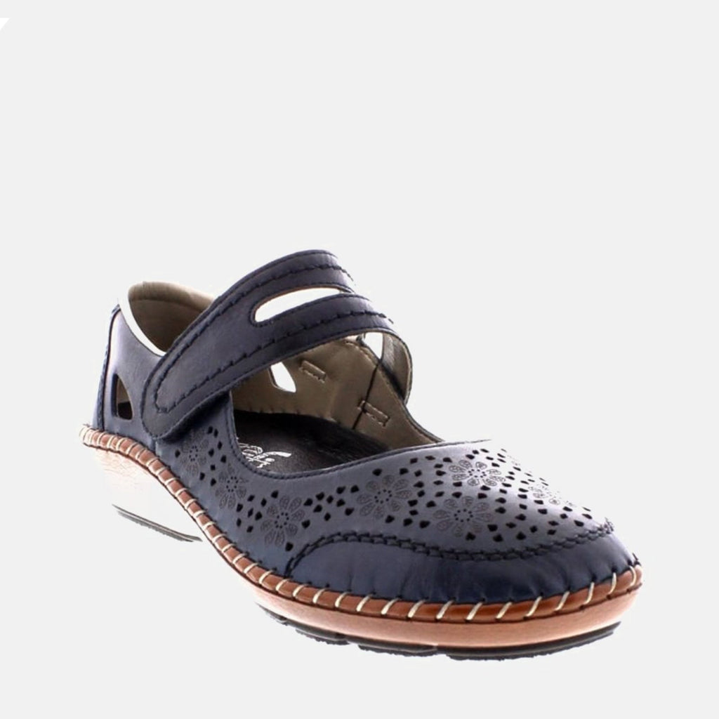 Rieker Footwear UK 4 / EU 37/ US 6.5 / Navy 44875 14 Mare/Ozean - Rieker  Ladies Navy Blue Velcro Fastening Flat Shoes