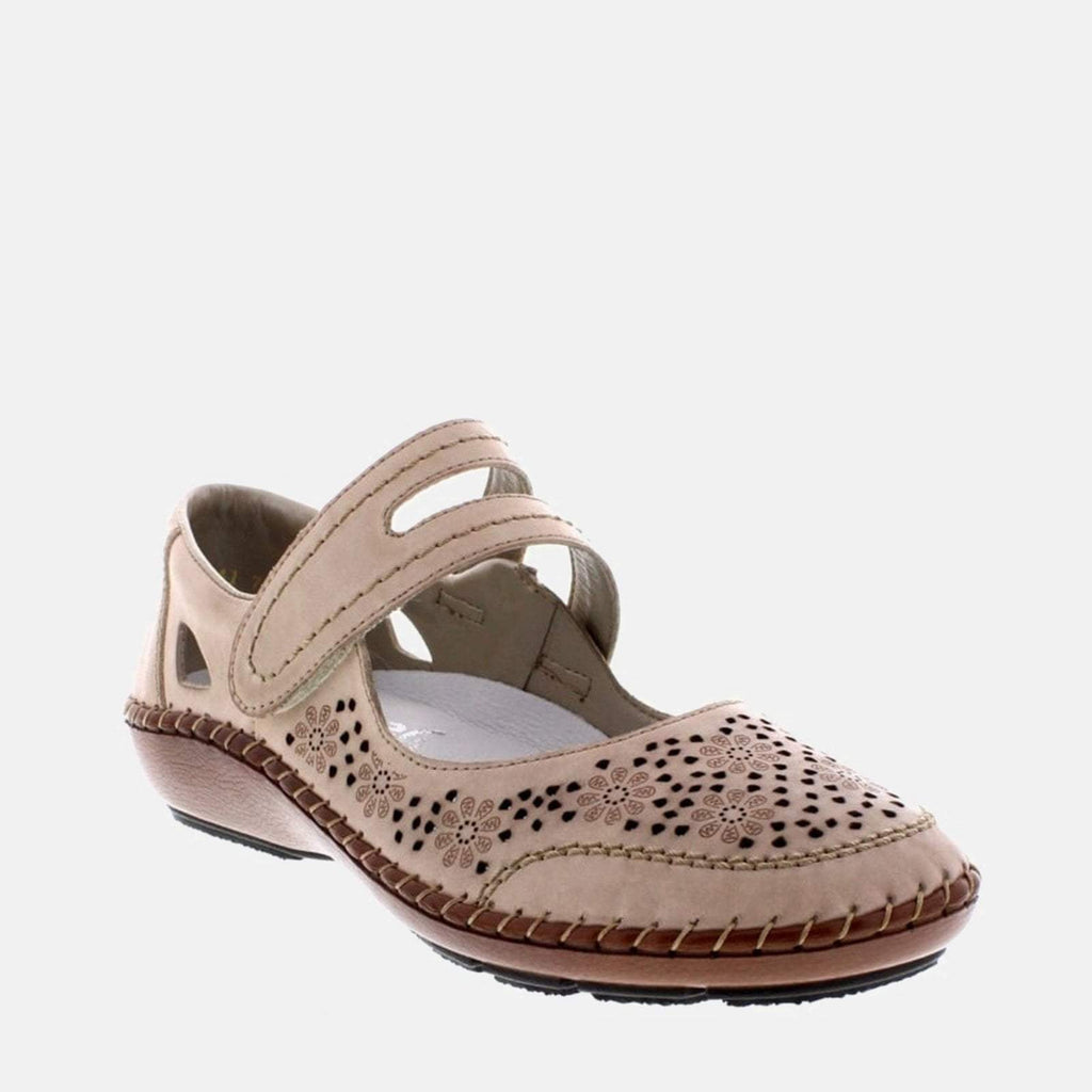 Rieker Footwear UK 4 / EU 37/ US 6.5 / Pink 44875 60 Vanilla - Rieker  Ladies Nude Coloured Velcro Fastening Flat Shoes
