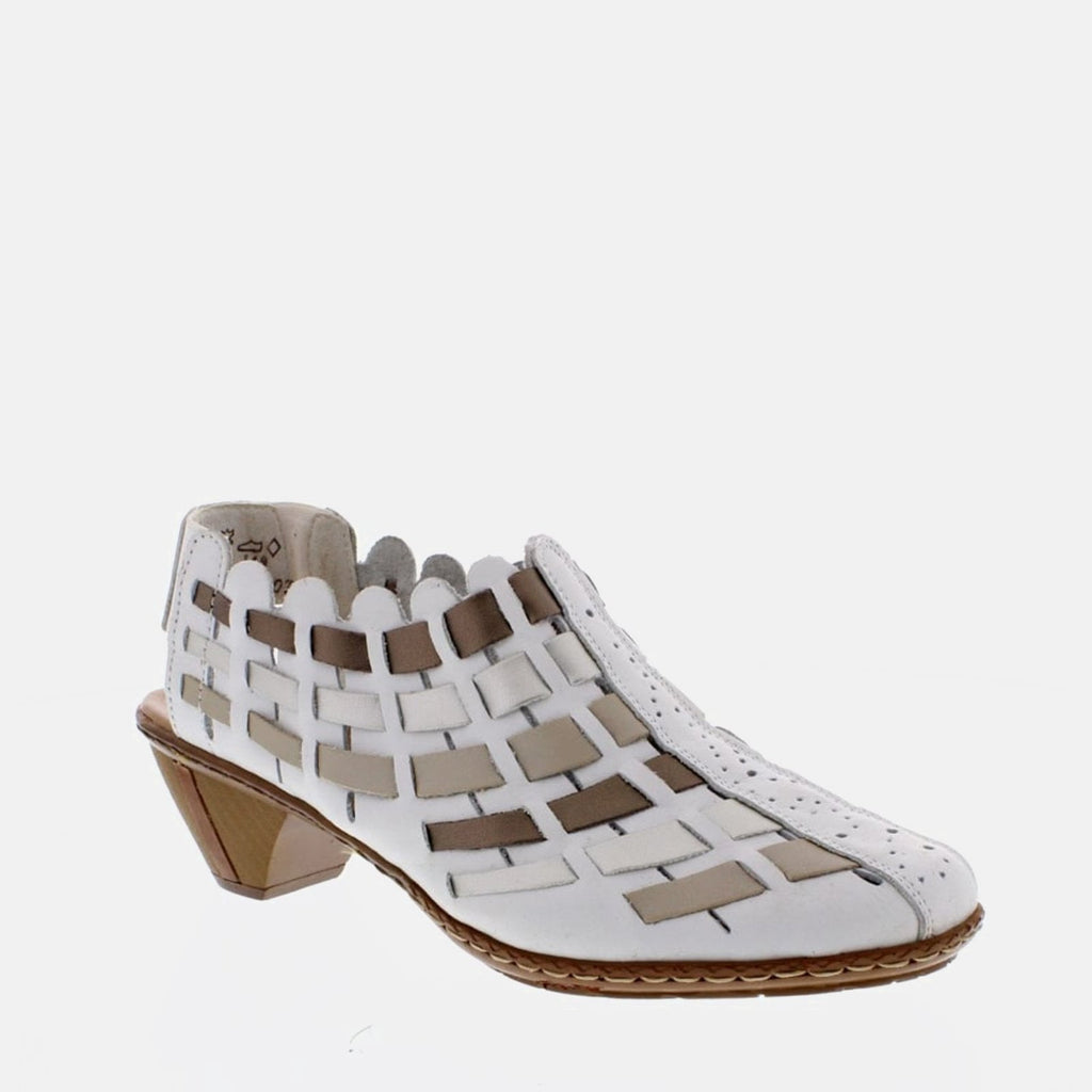 Rieker Footwear UK 3.5 / EU 36/ US 5.5 / White 46778 81 Weiss/Platin/Silver/Oro - Rieker Ladies White and Silver Metallic Woven Slip on Sling Back Shoe