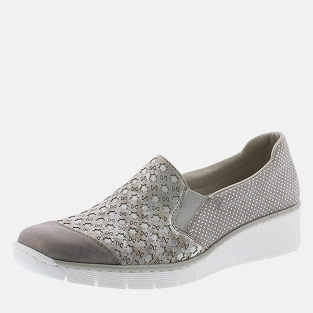 Rieker Footwear UK 4 / EU 37/ US 6.5 / Silver 537W4 40 Grey/Rose Metallic - Rieker Ladies Metallic Silver Slip On Loafer Style with Wedge Heel Shoe