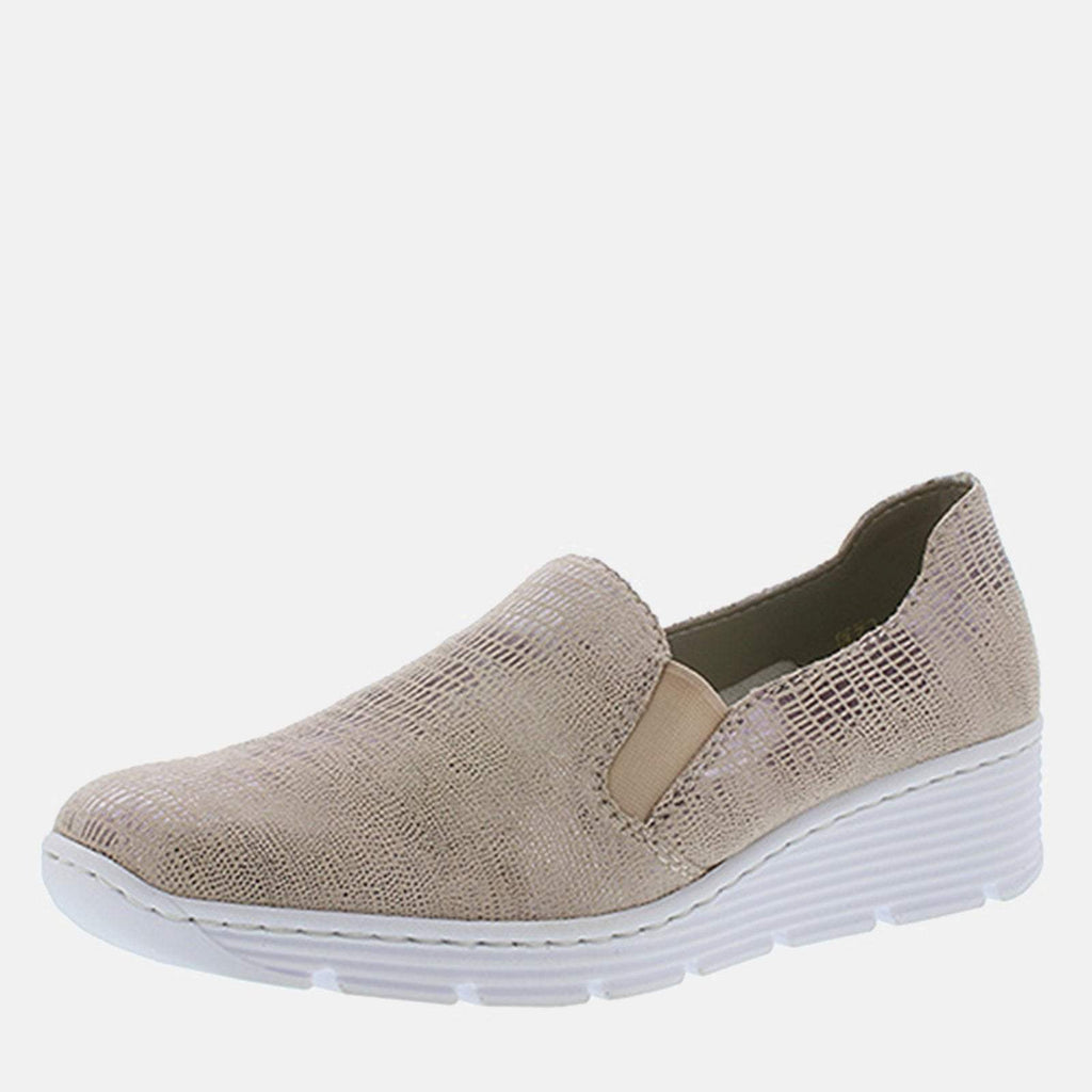 Rieker Footwear UK 4 / EU 37/ US 6.5 / Multi-Coloured 587B0 62 Ginger - Rieker Ladies Multi-Coloured Slip On Loafer Style with Wedge Heel Shoe