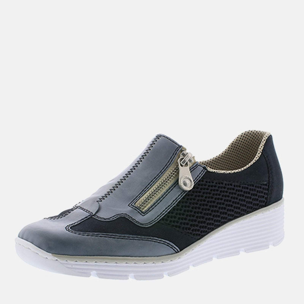 Rieker Footwear UK 4 / EU 37/ US 6.5 / Blue 587F8 12 Azur/Pazifik/Navy -Rieker Ladies Navy Blue Slip On Loafer Style with Wedge Heel Shoe
