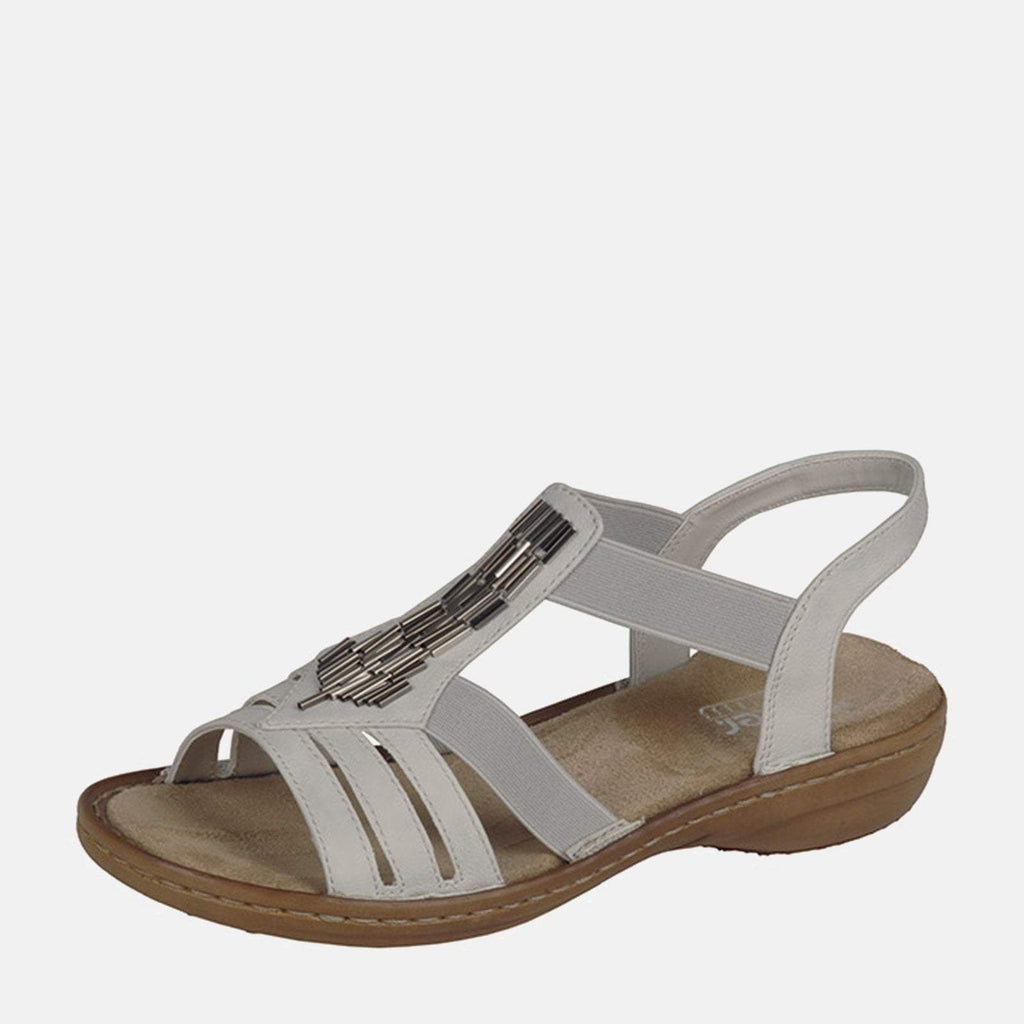 Rieker Footwear UK 4 / EU 37/ US 6.5 / White 60800 80 Ice - Rieker Ladies Embellished Summer Sling Back Sandals