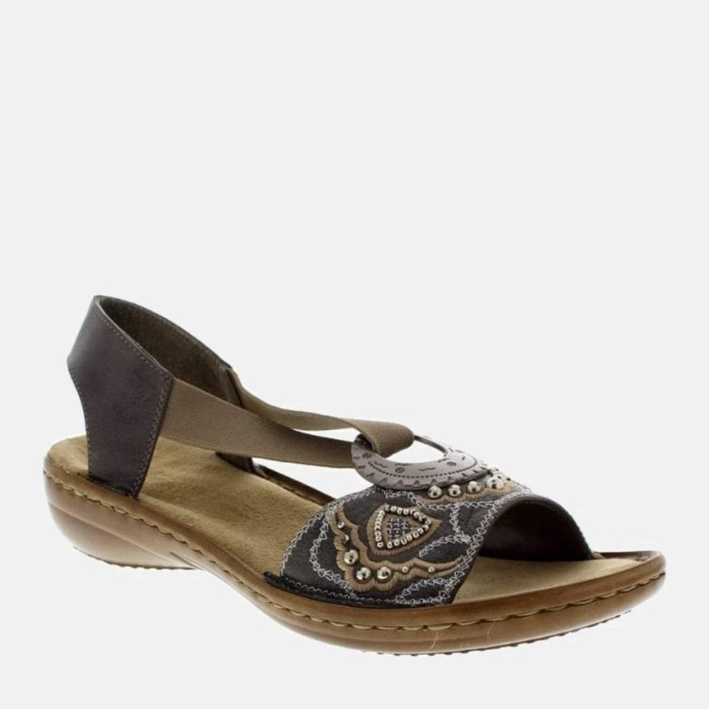 Rieker Footwear UK 4 / EU 37/ US 6.5 / Grey 608B9 45 Smoke - Rieker Ladies Grey Jean Embellished Summer Sling Back Sandals