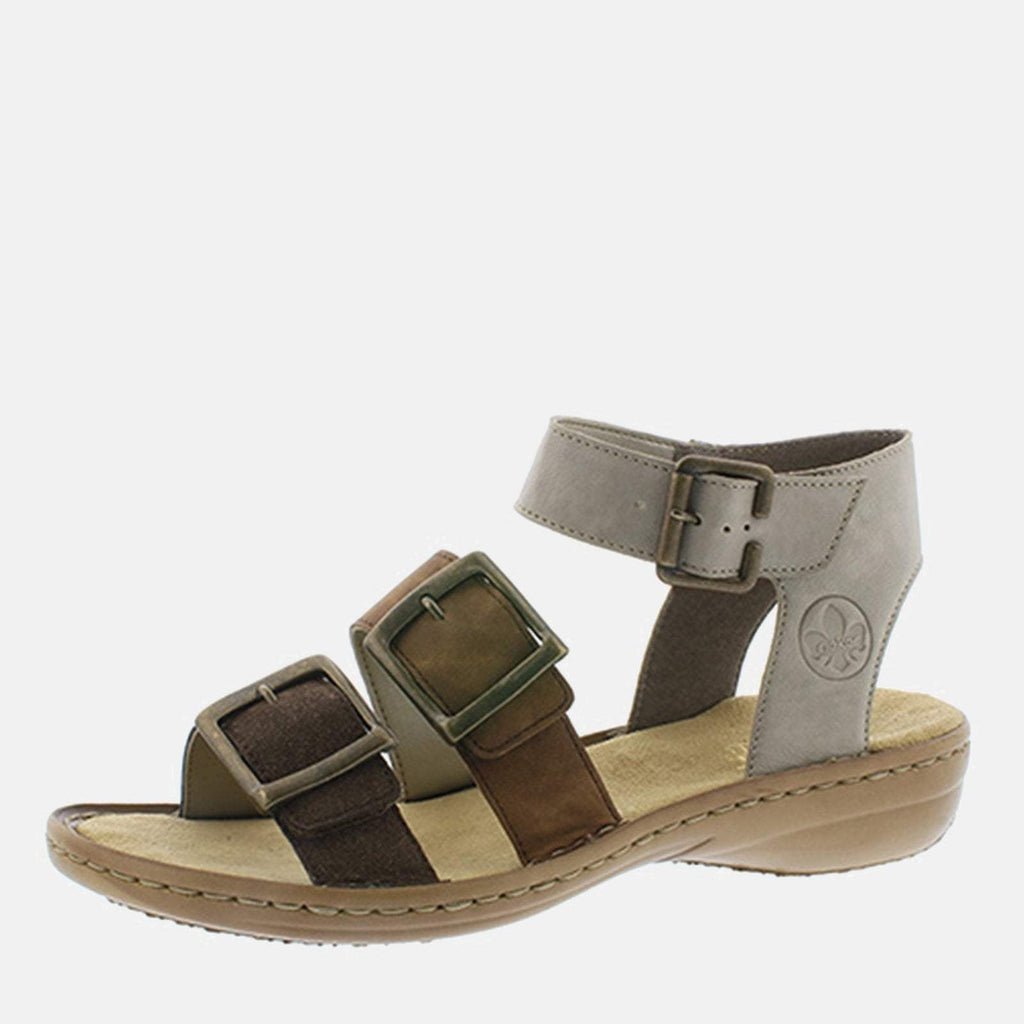 Rieker Footwear UK 4 / EU 37/ US 6.5 / Brown 608C3 25 Cigar/Mandel/Elefant - Rieker Brown And Beige Gladiator Style Summer Sandal