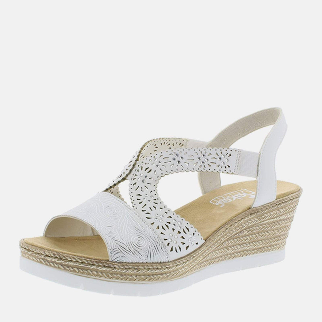 Rieker Footwear UK 4 / EU 37/ US 6.5 / White 61916 80 Weiss Silber/Weiss - Rieker Ladies White  Low Wedge Platform Summer Sandals