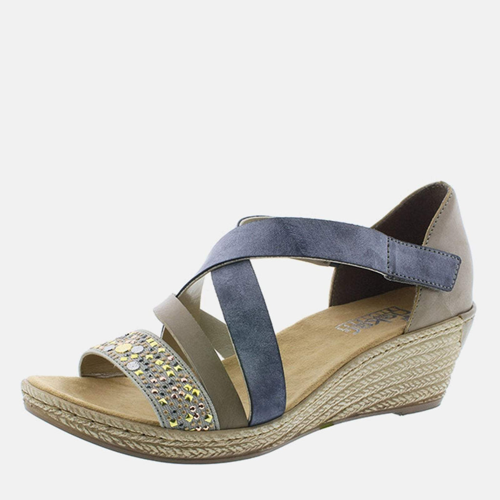 Rieker Footwear UK 4 / EU 37/ US 6.5 / Blue 62405 42 Grau/Steel/Jeans - Rieker Ladies Blue and metallic Velcro Low Wedge Platform Summer Sandals
