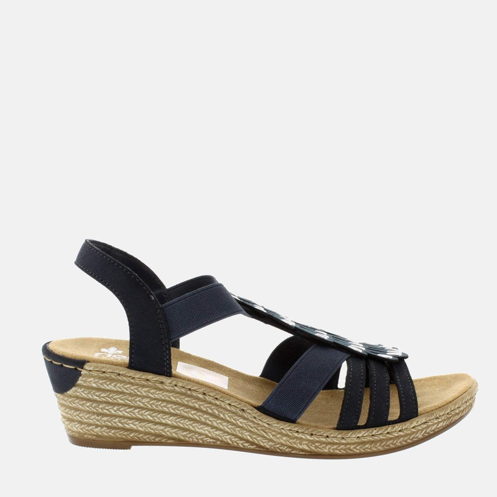Rieker Footwear UK 4 / EU 37/ US 6.5 / Blue 62436 14 Pazifik - Rieker Ladies Navy Blue Sling Back Summer Sandal