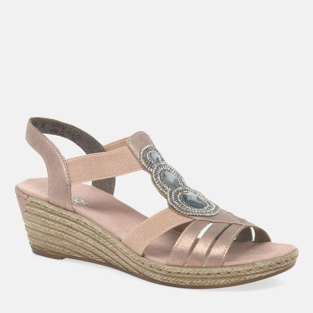 Rieker Footwear UK 4 / EU 37/ US 6.5 / Multi-Coloured 62459 31 Rose Ladies Wedge Heel Sandals Rose