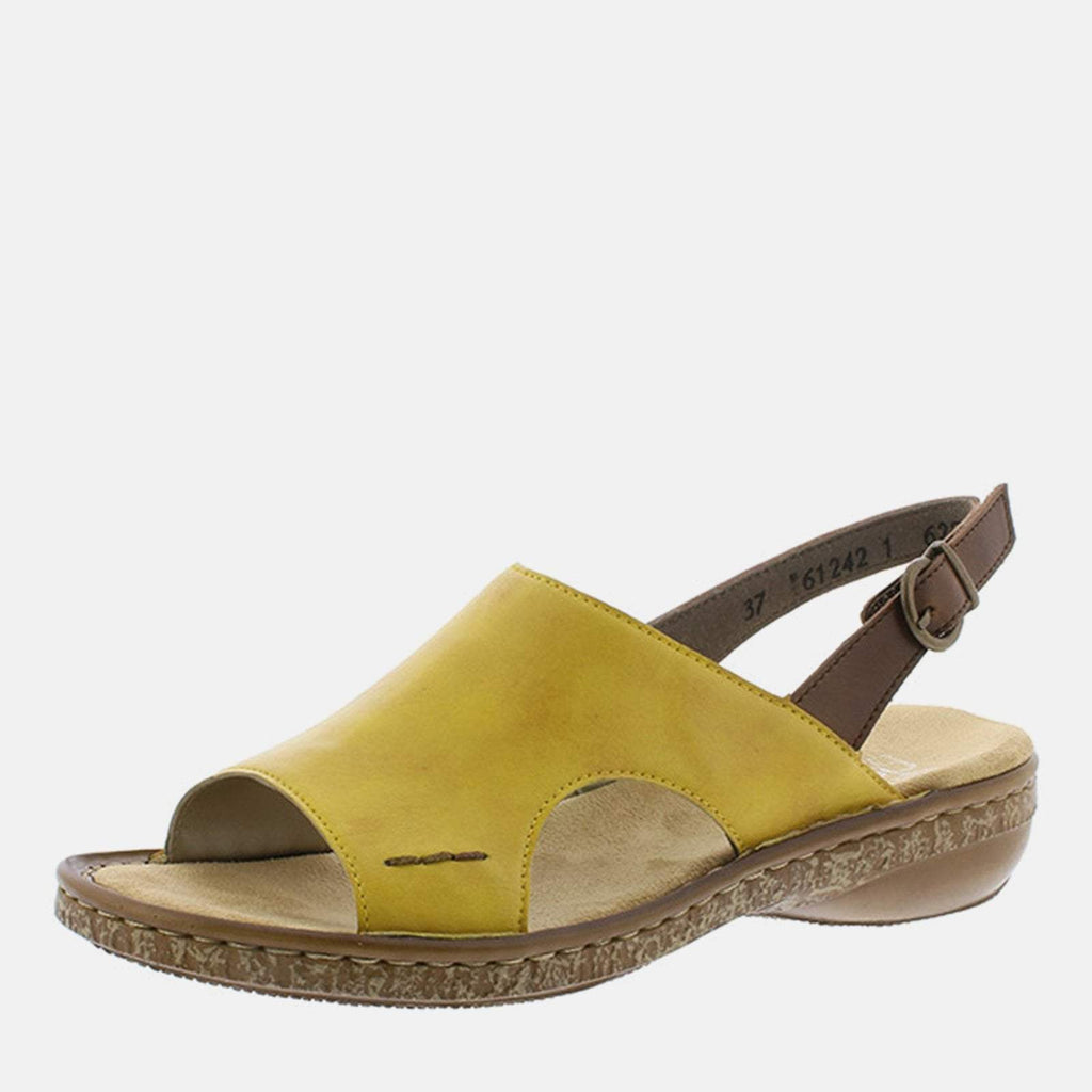 Rieker Footwear UK 4 / EU 37/ US 6.5 / Brown 628C5 68 Quitte/Mogano - Rieker Ladies Tan and Mustard Sling Back Summer Sandal