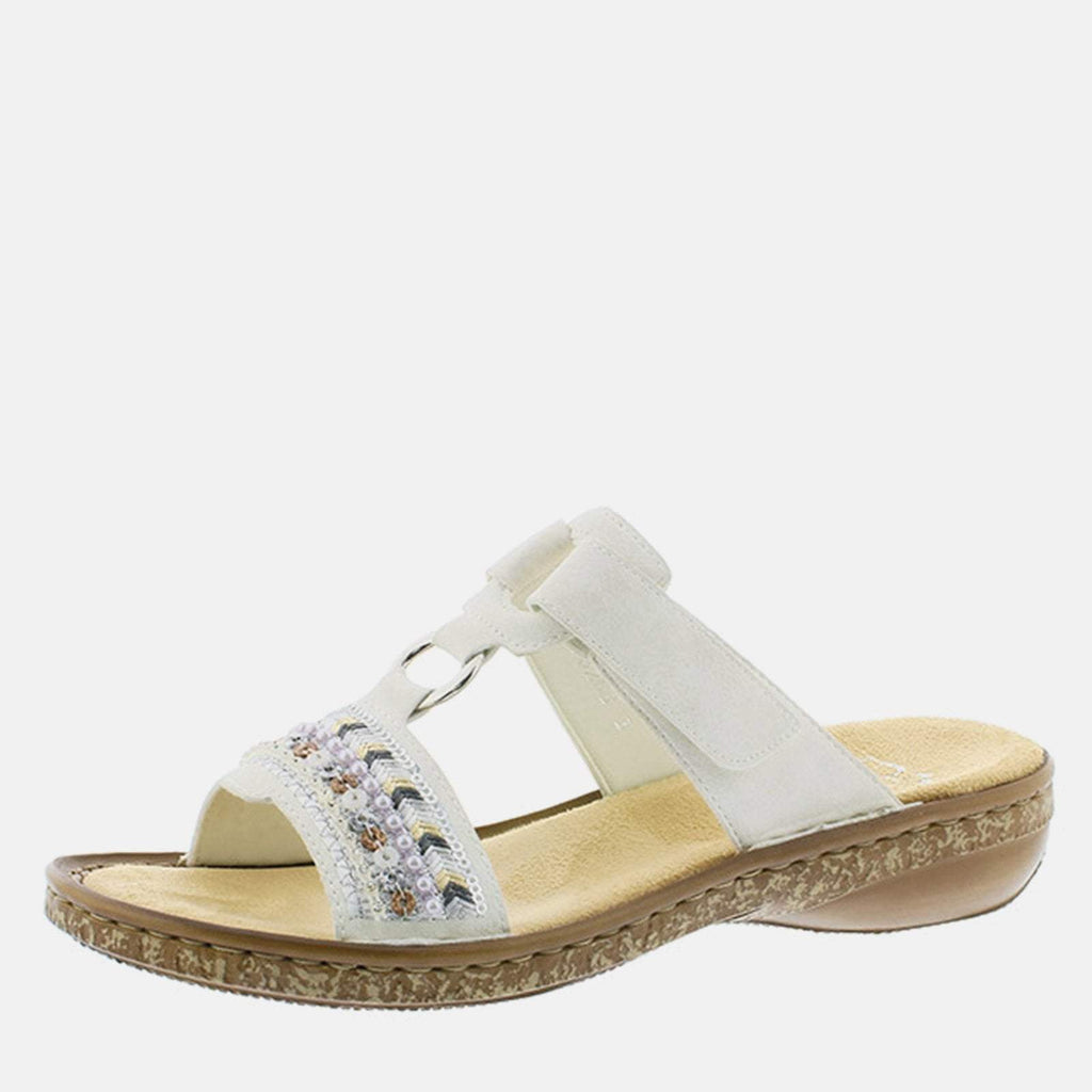 Rieker Footwear UK 4 / EU 37/ US 6.5 / White 628M6 80 Ice - Rieker Ladies White Slip On Summer Sandal