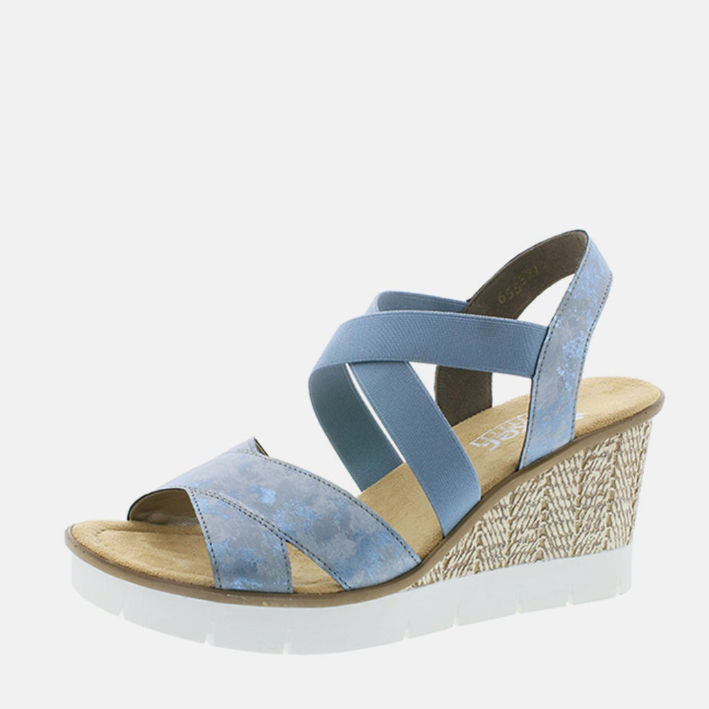 Rieker Footwear UK 4 / EU 37/ US 6.5 / Blue 65532 12 Blue - Rieker Ladies Blue Strappy Wedge Sandals