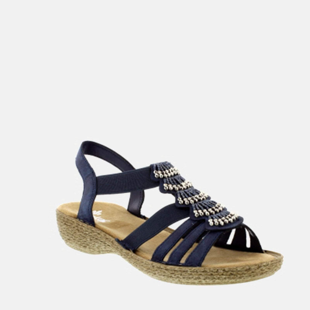Rieker Footwear UK 4 / EU 37/ US 6.5 / Blue 65869 14 Baltik - Rieker Ladies Sling Back Navy Blue Summer Sandal
