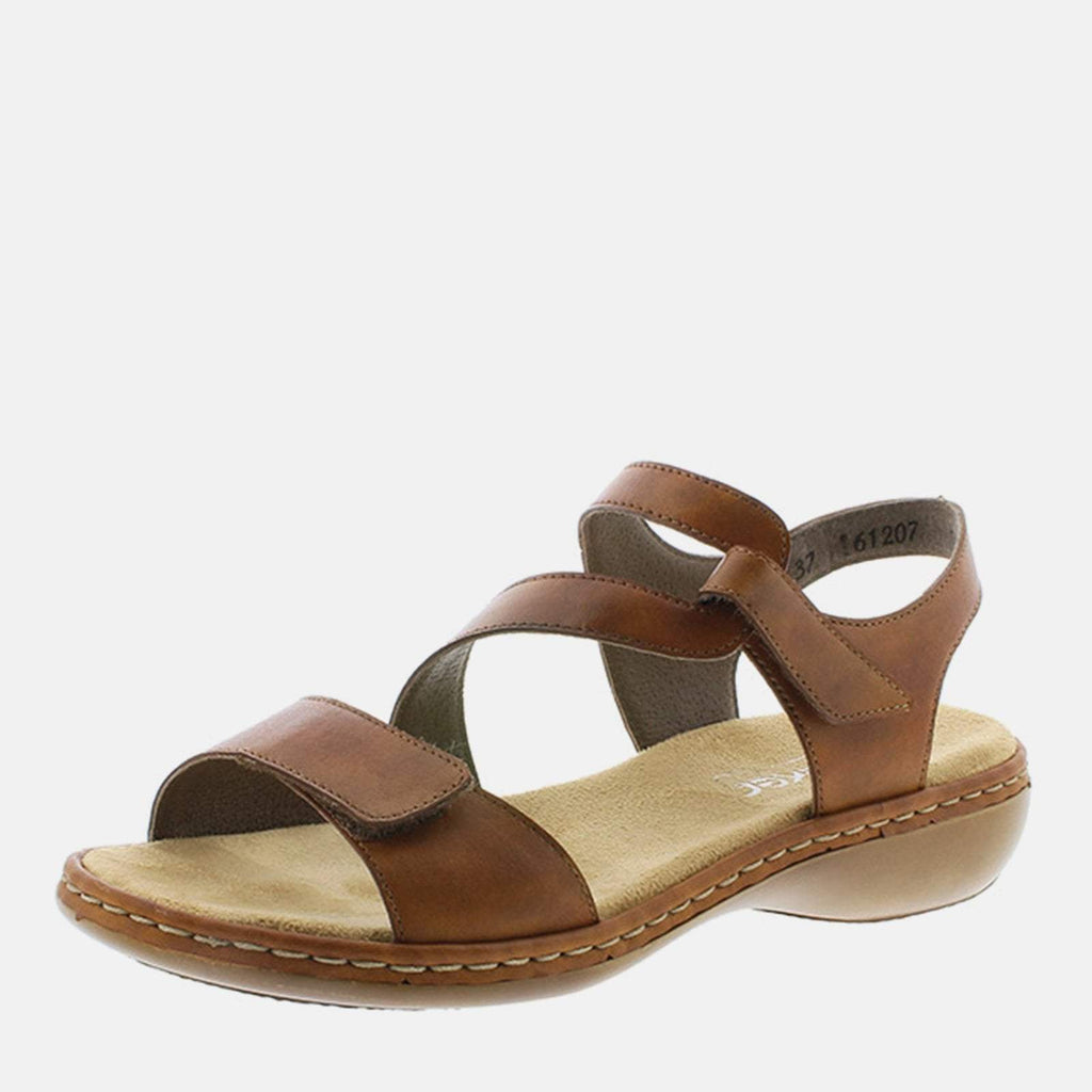 Rieker Footwear UK 4 / EU 37 / US 6.5-7 / Brown 659C7 24 Reh - Rieker Ladies Brown Tan Leather Sling Back Summer Sandal