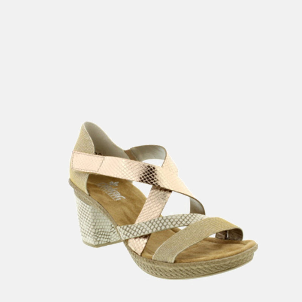 Rieker Footwear UK 4 / EU 37 / US 6.5-7 / Gold 66581 90 Lightgold/Kiesel - Rieker Ladies Open Toe Gold Strappy Summer Sandals