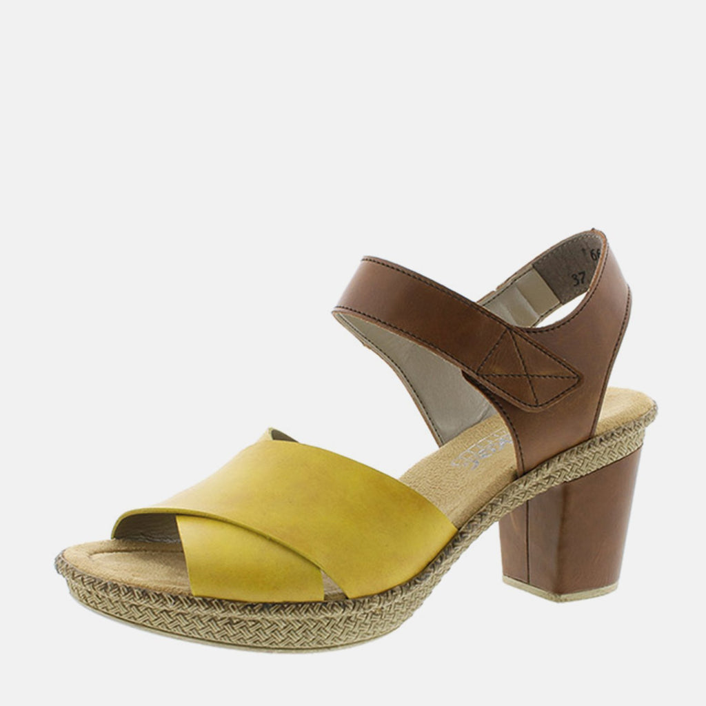 Rieker Footwear UK 4 / EU 37 / US 6.5-7 / Brown 665H1 68 Quitte/Amaretto - Rieker Ladies Tan and Mustard Open Toe Summer Sandal