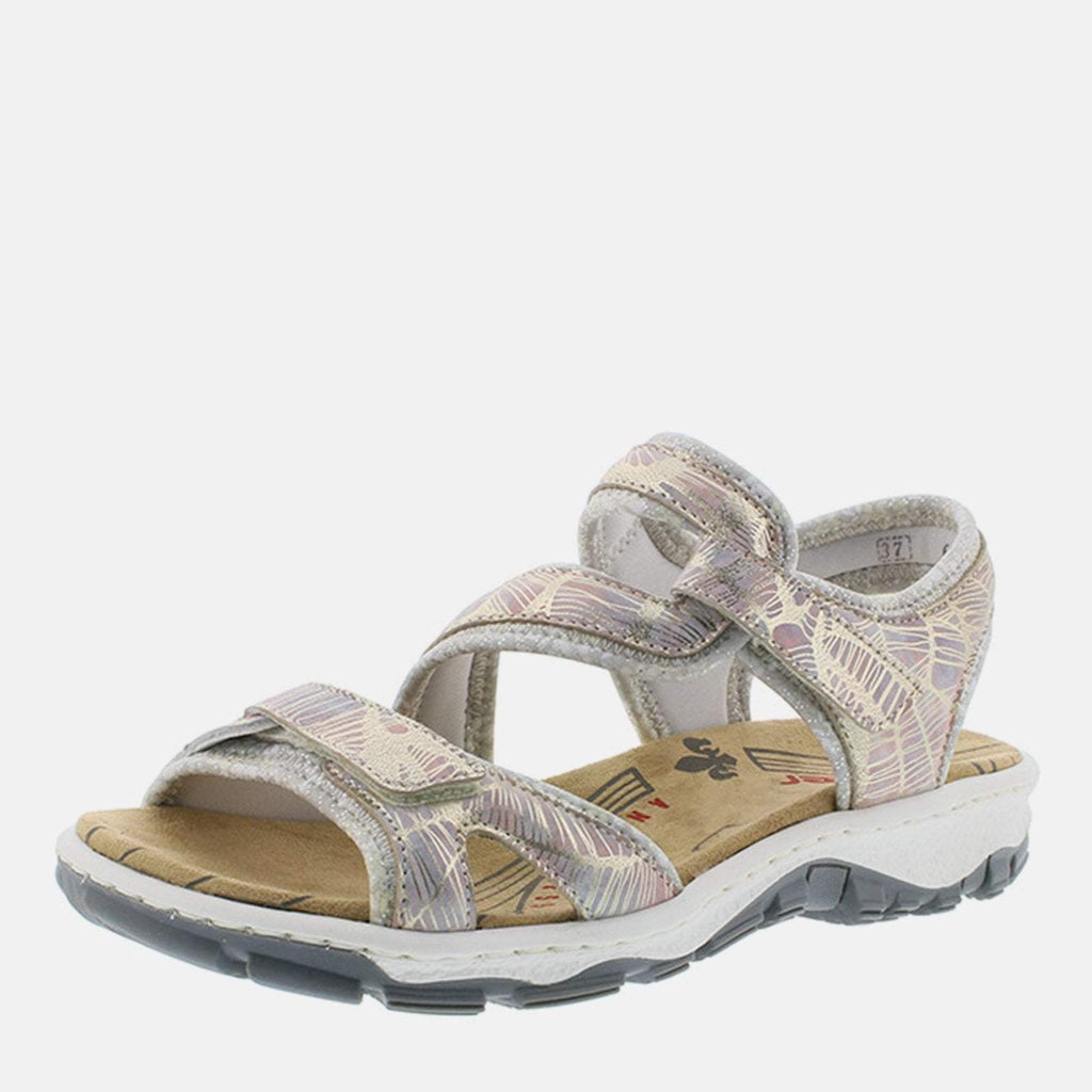 Rieker Footwear UK 4 / EU 37 / US 6.5-7 / Multi-Coloured 68869 90 Multi/Silverflower - Rieker Ladies Leather Multi-coloured Hiking-Walking Summer Sandal