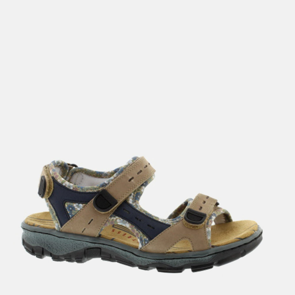 Rieker Footwear UK 4 / EU 37 / US 6.5-7 / Beige 68872 25 Bisonte/Royal -  Rieker Ladies Beige Hiking-Walking Summer Sandal