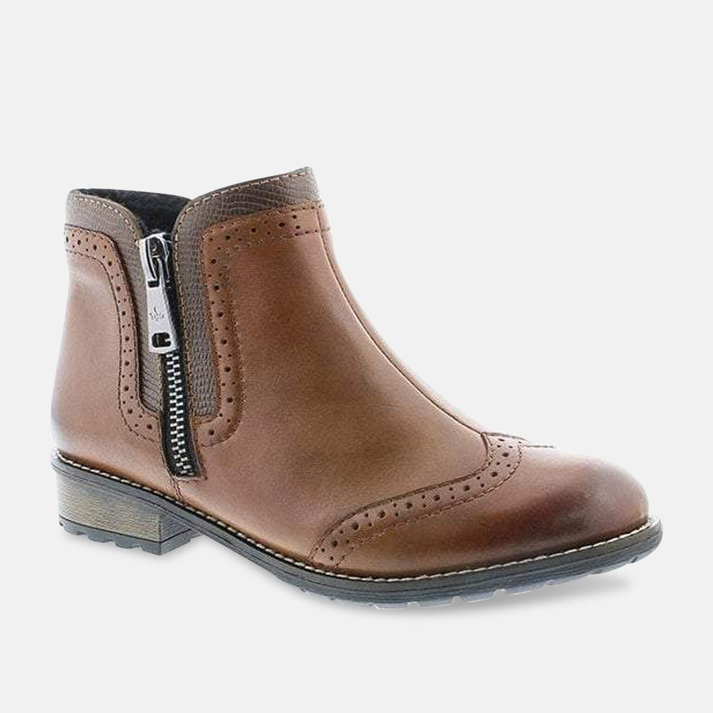 Rieker Footwear UK 3.5 / EU 36 / US 5.5 / Brown Rieker Cristallin Brown Zip Ankle Boots Y3361-22