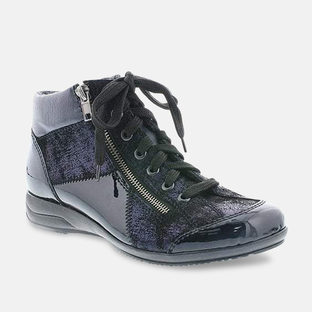 Rieker Footwear UK 3.5 / EU 36 / US 5.5 / Navy Rieker Softlack Navy Patent Multi Ankle Boot L3633-14