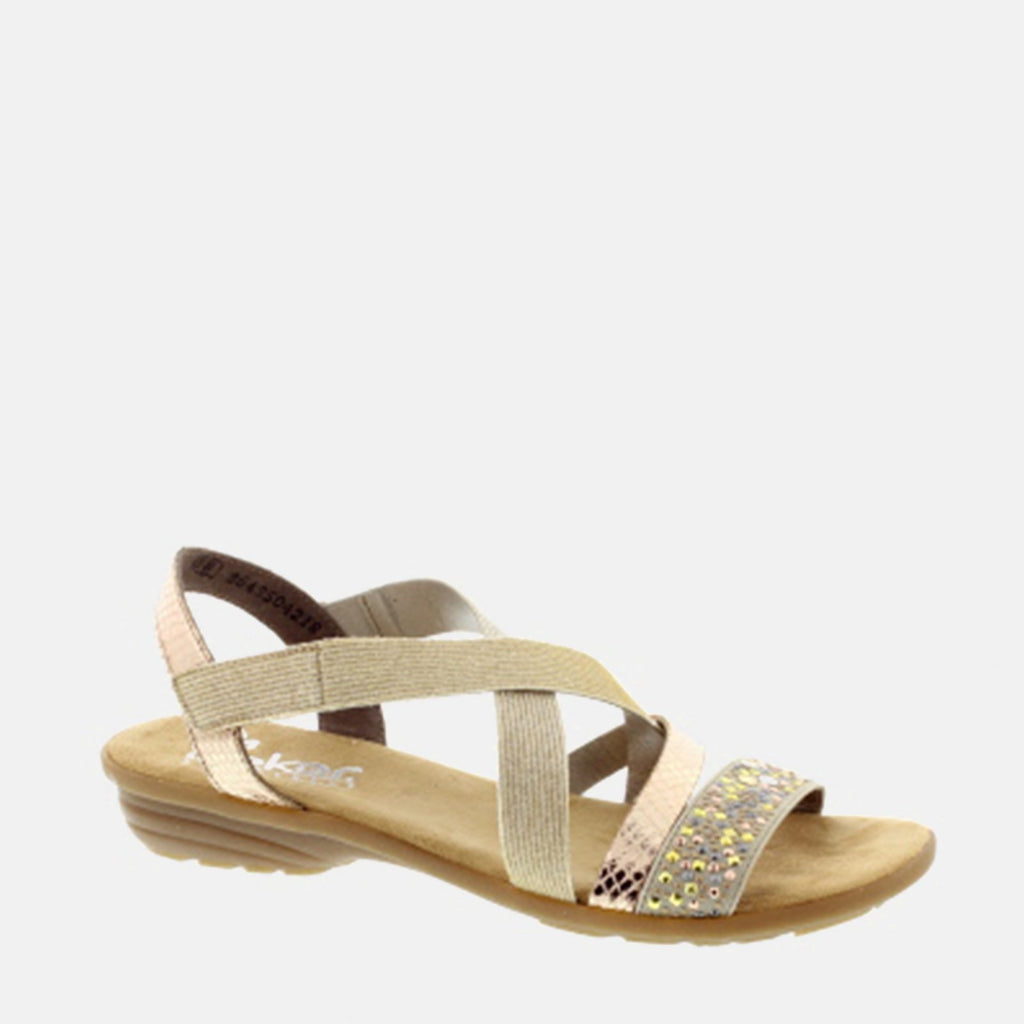 Rieker Footwear UK 3 / EU 36 /US 5.5-6 / Gold V3463 60 Beige/Kupfer/Light Gold - Rieker Ladies Gold Metallic Strappy Summer Sandal