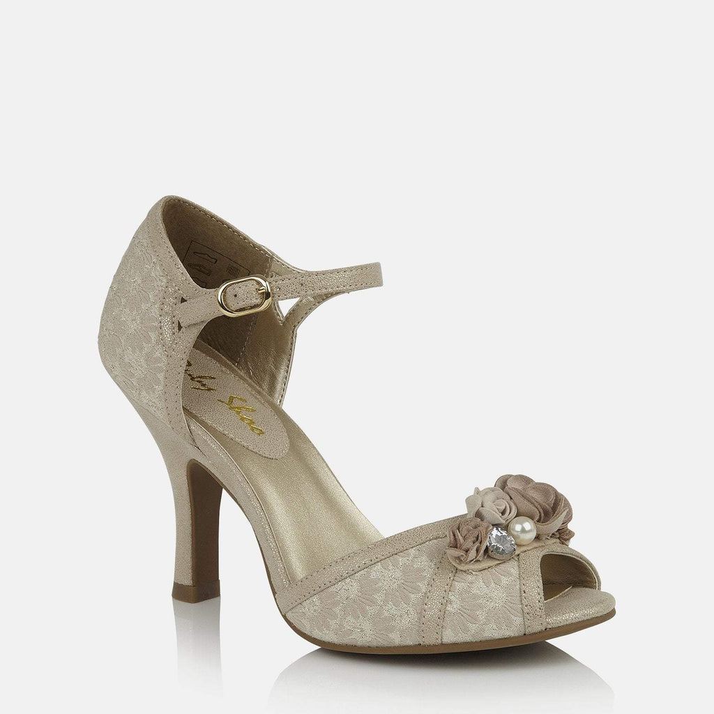 Ruby Shoo Imogen Silver Grey Lace High Heel Shoes
