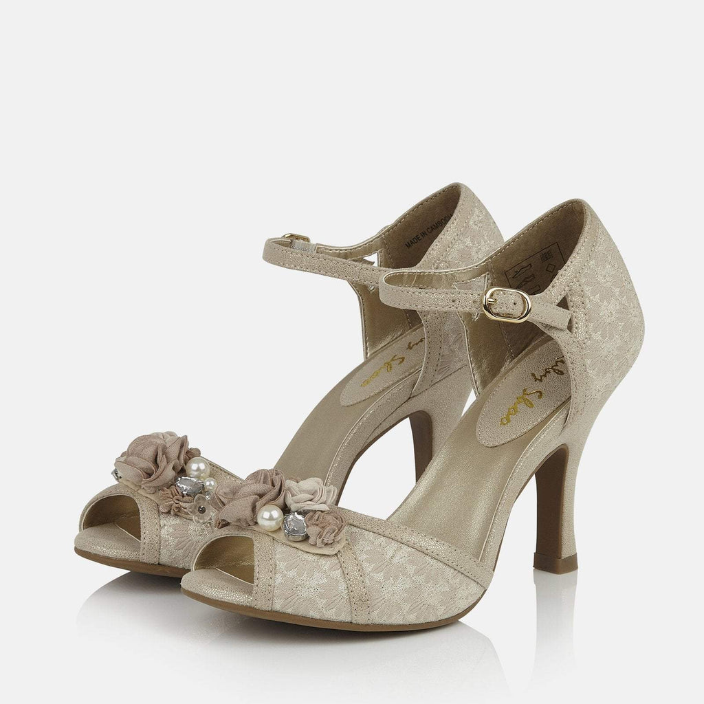 Ruby Shoo Footwear UK 2 / EU 35 / US 4 / Cream Clarissa Cream/Gold