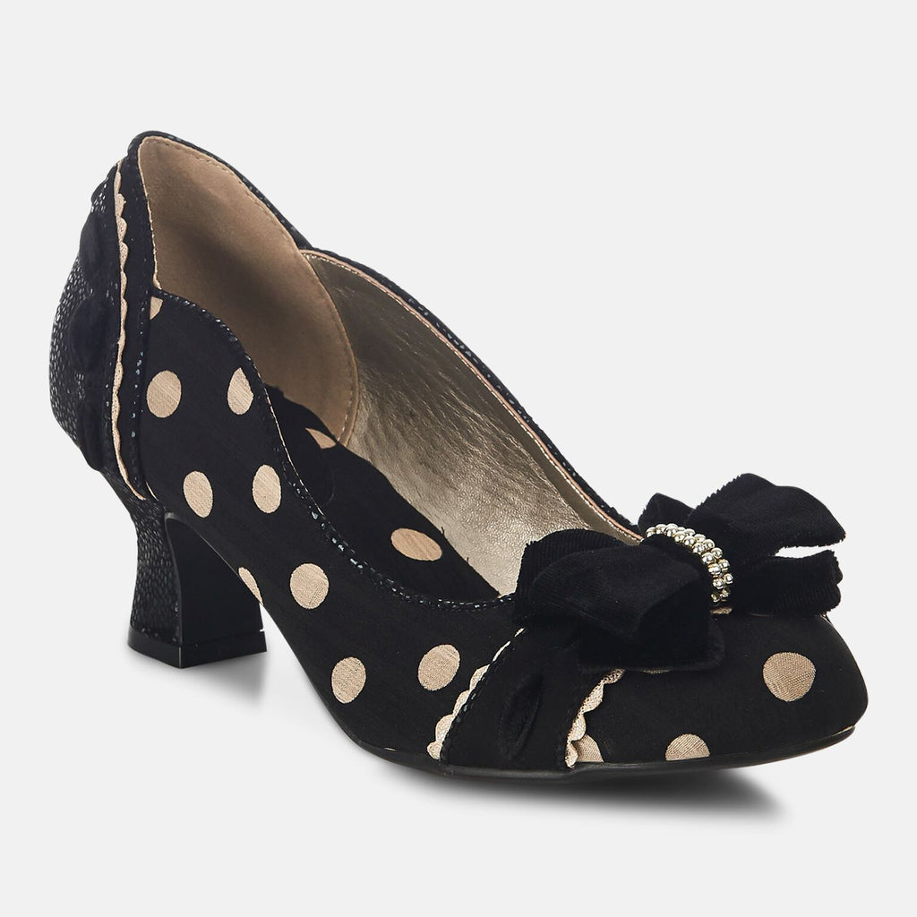 Ruby Shoo Footwear UK 2 / EU 35 / US 4 / Black Spot Rhea Black Spot - Ladies Medium Heel Shoe