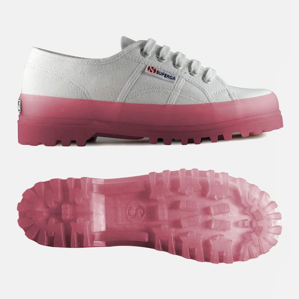Superga Footwear 2555 Cot U Transparent Sole White Pink