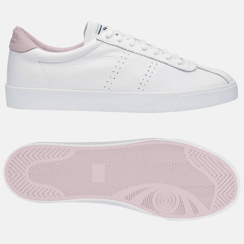 Superga Footwear 2843 Club S Comfort Leather  White-Pink Lt