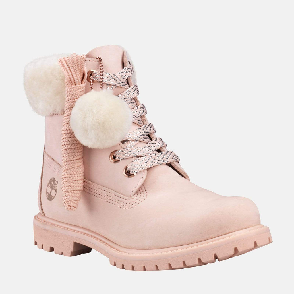 Timberland Footwear 6in Premium With Shearling Collar CA2322 Cameo Rose