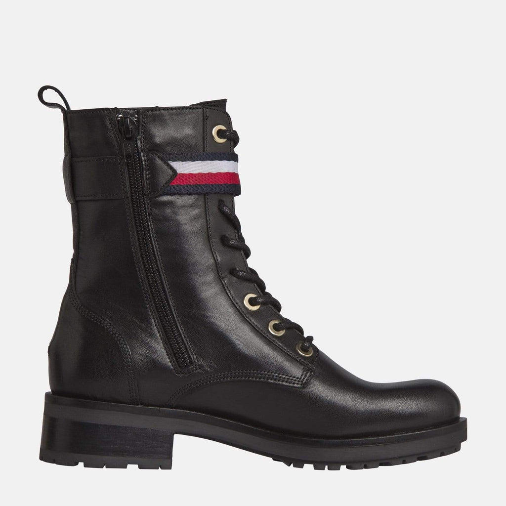 Tommy Hilfiger Footwear Corporate Ribbon Biker Boot Black