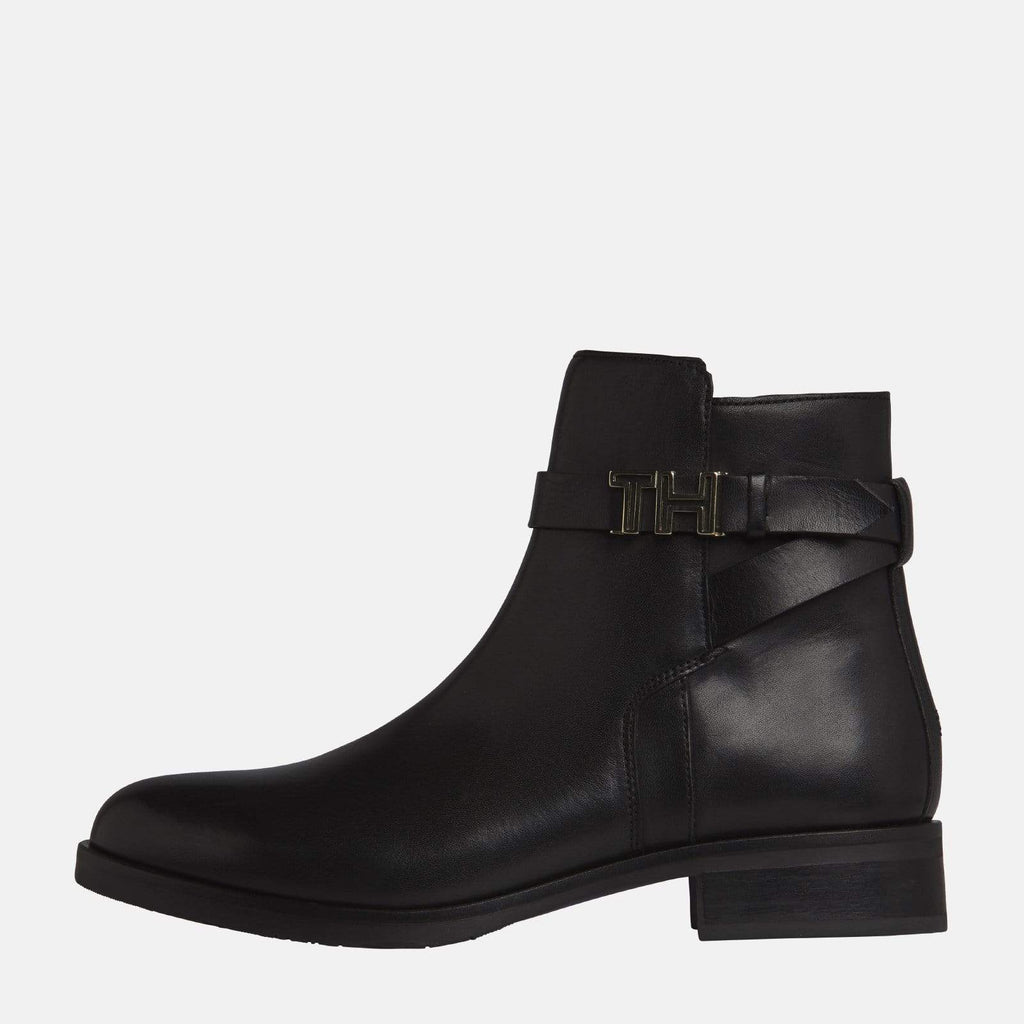 Tommy Hilfiger Footwear TH Hardware Leather Flat Bootie Black