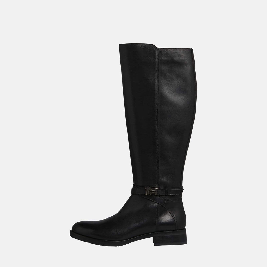 Tommy Hilfiger Footwear TH Hardware Leather Long Boot Black