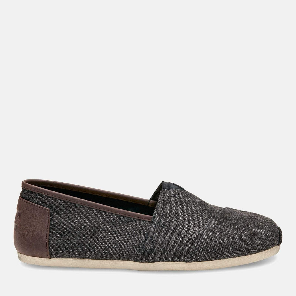TOMS Footwear 6L / Charcoal Herringbone/Trim Men's Alpargata Espadrille Charcoal Herringbone/Trim