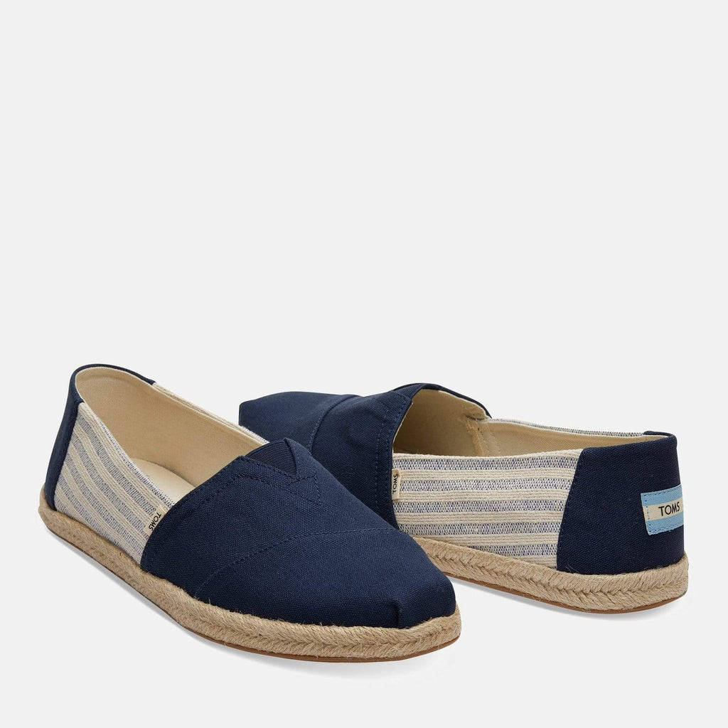 TOMS Footwear 6L / Navy Striped Men's Ivy League Espadrille Navy Striped