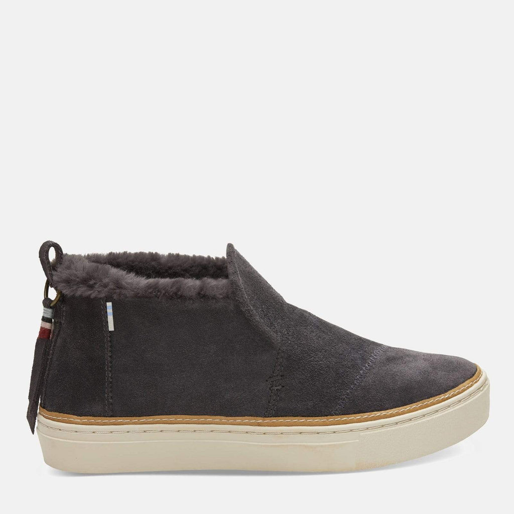 TOMS Footwear Paxton Dark Grey Suede Faux Fur