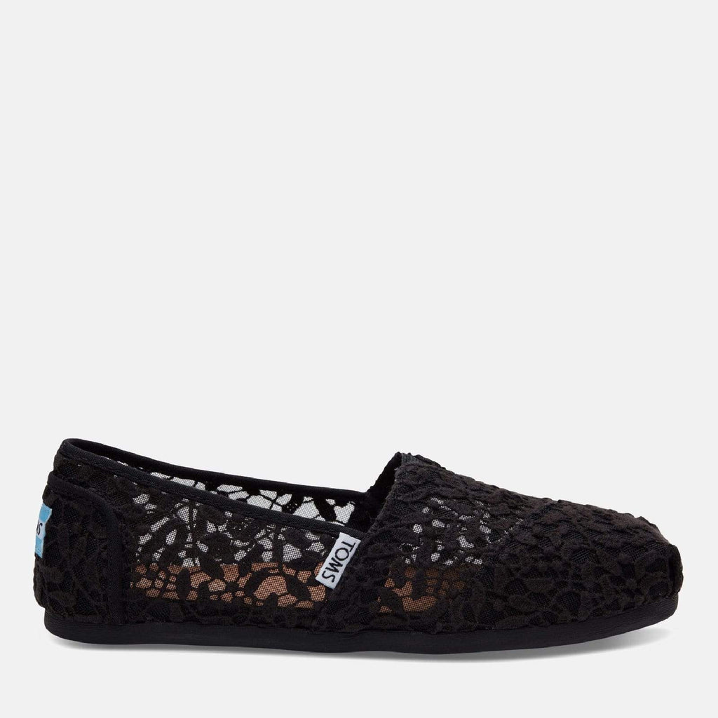 TOMS Footwear 3L / Black Lace Leaves Women's Alpargata Espadrille Black Lace Leaves
