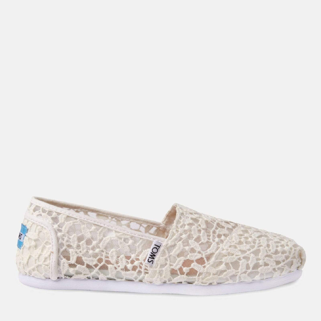 TOMS Footwear 3L / White Lace Leaves Women's Alpargata Espadrille White Lace Leaves