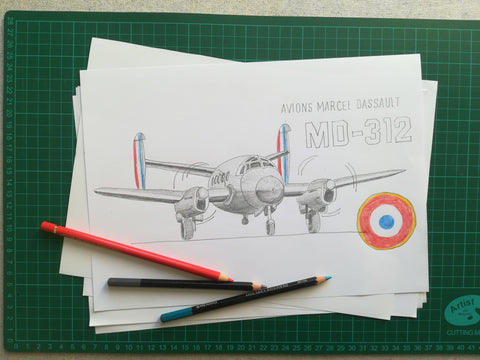 Avion Flamant MD-312 Dassault - Travail de le Designeuse Camille de Montmorillon- Flight Inspiration®